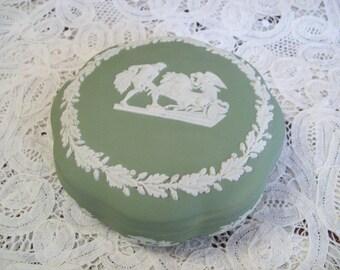 "5"" Wedgewood Type Green Porcelain Jasperware Covered Bowl unsigned"