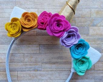 Rainbow Unicorn Headband with Felt Flowers   Photo Prop, Birthdays, Costumes, Live Sales, Accessories