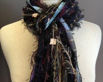 Handmade Fringe Scarf 'Dreamer', Multitextural hand-tied fringe scarf, ribbon scarves, navy purple black scarf, knotted scarf, boho chic