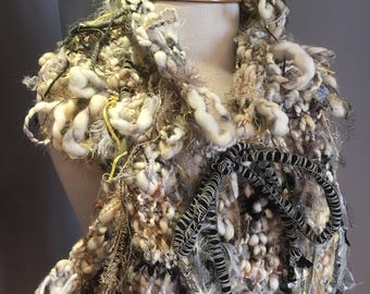 Hand Knit chunky art scarf, Eco friendly hand spun yarn Scarf with drawstring, Wool acrylic blend, Knit Scarf, cowl, eclectic, couture