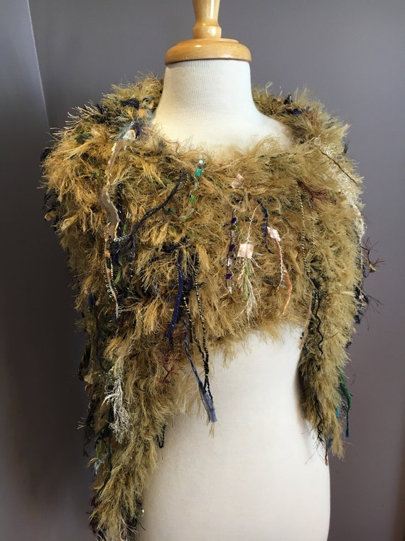Hand knit funky poncho, Dumpster Diva 'Mustard Seed', Fringed Poncho, shoulder wrap, fur fashion, Gold navy sage mustard, boho faux fur wrap