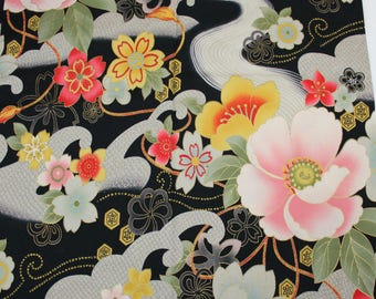 Floral Black Asian Cotton Fabric, 1 yard, Oriental Floral Fabric, Pink, Gold and Gray on Black Background, Quiltsy Destash, FA-113