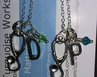 STETHOSCOPE, Initial and Birthstone Necklace, SHOW Me Your STETHOSCOPE Nursing Necklace