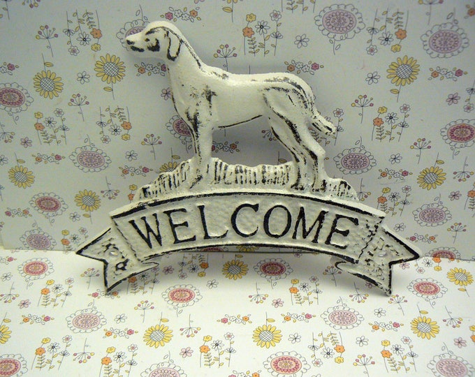 Dog Welcome Cast Iron Door Shabby Chic White Home Decor