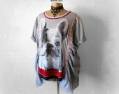 Plus Size Clothes French Bulldog Shirt Up Cycled Clothing Wearable Art Top Women's Dog T-Shirt Short Sleeve Gathered Ruched Tunic 2X 'ZOEY'