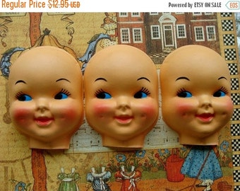 ON SALE Large Vintage Kitsch Creepy Doll Faces