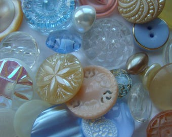 3 Dozen Antique Buttons Vintage Glass Buttons Rhinestone Buttons Wedding Collection 12