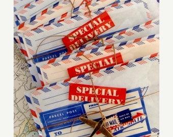 ON SALE Vintage Par Avion Via Air Postal Mail Labels Mixed Lot