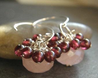 20% OFF Pink Rose Quartz and Red Garnet Earrings, Dainty Pink Earrings - Cranberries
