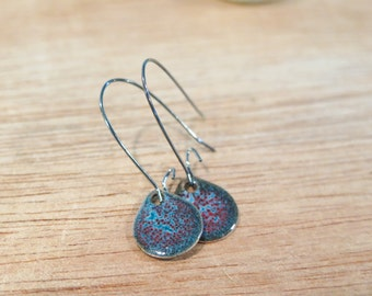 Glass Enamel Red, Black, White and  Teal Mottled Earrings