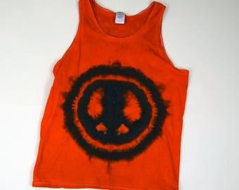 Black on Bright Orange Peace Sign Tie Dye Tank Top (Gildan Ultra Cotton Tank Size L)(One of a Kind)
