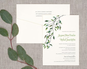 Watercolor Leaves Wedding Invitations - Classic Timeless Watercolor Whimsical Vintage
