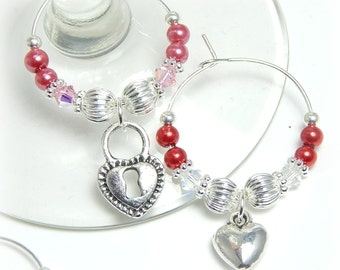 Crystal Wine Glass Charms, Heart Wine Charms, Valentines Day Wine Charms, Set of 5 Wine Glass Charms