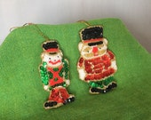 Sequin Ornaments Set of 2 Vintage Toy Soldier Christmas Holiday Decor Gift Tag