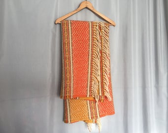 Wool Blanket Orange Golden Yellow Cream Tassles Woven Pattern Vintage Striped