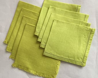 Green Napkin Set of 8 Linen Woven Vintage Chartuese