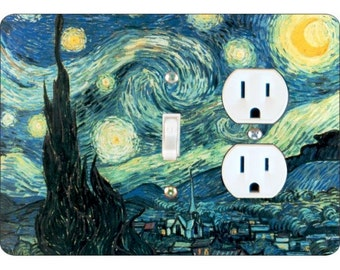 Starry Night Van Gogh Painting Toggle Switch and Duplex Outlet Double Plate Cover