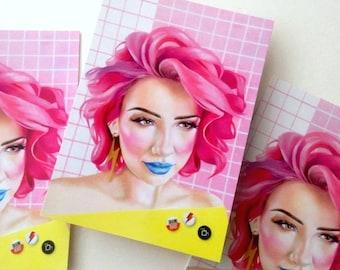 5 x Postcards Rad 80s 90s Graphics Teen pink hair n pins