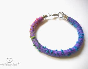 Multicolored Bracelet with clasp-ThousandTwist Carnival Purple-pop bracialet cotton boho bracelet,rope textile bracelet jewelry by fridawer