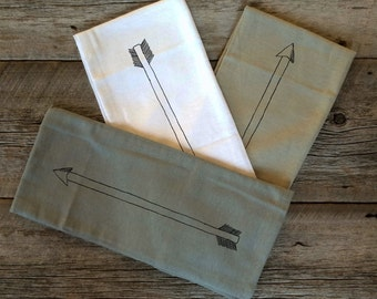 Hand Printed Flour Sack Towel - Big Tea Towel - Arrow Design - 100% cotton linens - Set of 3