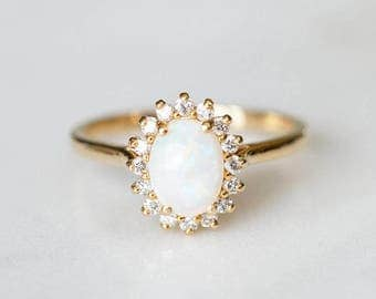 Opal Engagement Ring | Oval Diamond Halo Wedding Band | 14k Gold Vintage Inspired Ring | Unique Alternative Pearl Ring [The Aurora Ring]