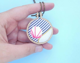 FREE Shipping -- Mini embroidery hoop necklace, version one: abstract seascape pendant necklace or brooch