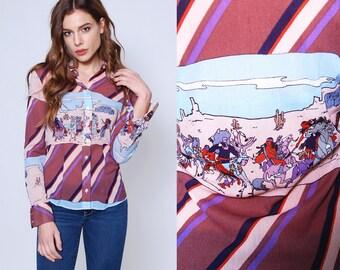 Vintage 70s Button Down NOVELTY Print Shirt NATIVE AMERICAN Print Blouse Wayne Rogers Top
