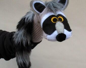 SALE  Raccoon sock puppet handmade  Child Size