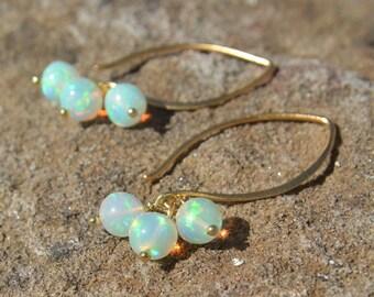 Ethiopian Opal Earrings on 24k Gold Vermeil