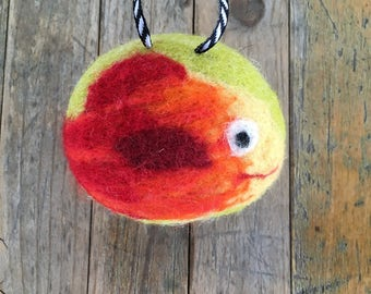 Orange and Red Fish , Felted Wool Toy Sculpture