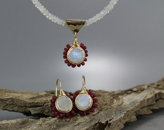 Moonstone Ruby Jewelry Set, Gift for Her, Ruby Earrings, Wedding Jewelry Set for Brides, Ruby Gem, Rainbow Moonstone, Bridal Wedding Set