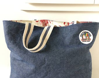 Denim Tote/ Beach Bag/ Market Bag/ Matsumoto's Shave Ice