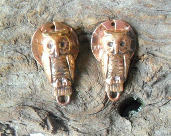 Artisan Rustic Copper and Brass Owl Findings Pair