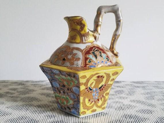 Antique Asian Oriental ceramic porcelain hand painted mosaic and phoenix rising cruet jug ewer / vase / pitcher / hexagonal / bamboo