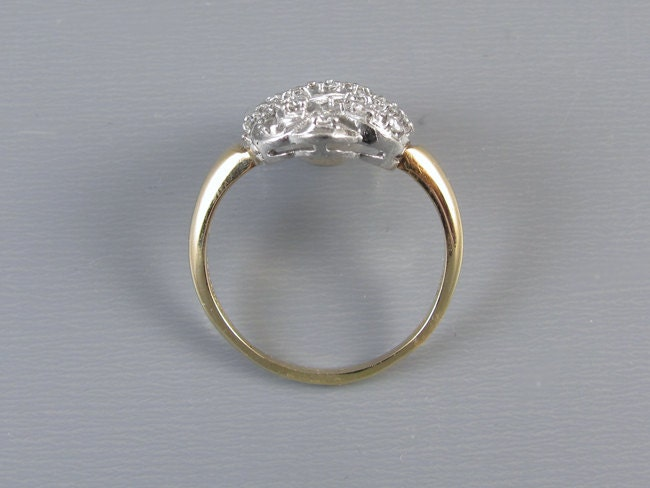 Vintage Art Deco 14k white and yellow gold .25 carat diamond cluster Priscilla cocktail ring, size 9