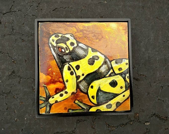 Original Yellow Banded Poison Dart Frog Painting by Lynnette Shelley