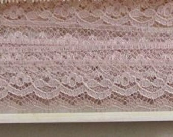 Vintage Lace Trim, Pink Lace Trim, Mauve Lace, Floral, Scalloped,  9 Yards, Crafting, Sewing, Scrapbooking, Bridal, Supplies, Lace, 3/4""
