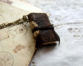 Miniature Memories - Miniature Wearable Book, Dark Brown Leather, Vintage Lace - OOAK