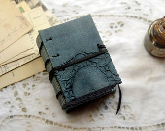 Mini Blues - Mini Indigo Journal, Hand Dyed, Tea Stained Pages, OOAK