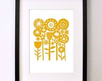 Yellow Summer Garden - Open Edition Giclee Print From an Original Paper Cut