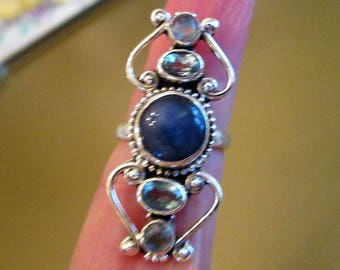 RING -  Blue TOPAZ  - KYANITE - Moonstone - Elongated - 925 - Sterling Silver - Size 6 Blue471