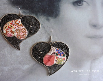 "Portugal  Antique Azulejo Tile HEART Earrings, VALENTINE'S Day Geometric  ""Ilhavo"" - Arista Zellige Majolica Moroccan -  reversible"