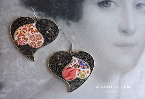 "Portugal  Antique Azulejo Tile HEART Earrings, VALENTINE'S Day Geometric  ""Ilhavo"" - Arista Zellige Majolica Moroccan -  reversible"