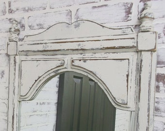 Vintage Pier Mirror, Distressed Chippy Weathered White - Shabby Cottage Farmhouse Chic