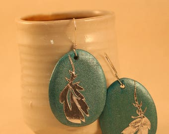 Handcut Metalic Paper Feather Earrings