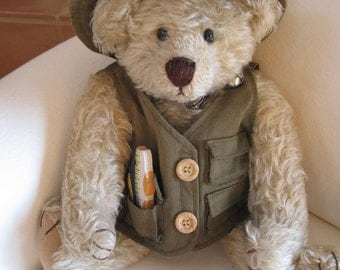 """Vintage Handmade 15"""" Mohair Teddy Bear Signed by the Artist 1994 Sport Fishing Removable Attire"""