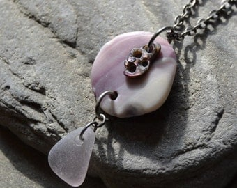 Beach Necklace with Natural Wampum Shell, Abalone Shell and Genuine Sea Glass, Lavender Purple Pendant Necklace Jewelry