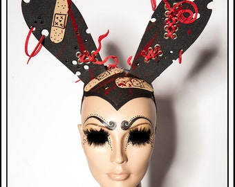 SomeBunny Loves You.... Medical Fetish Themed Bunny Ears With Blood and Bandaids and Aged Gold Grommets