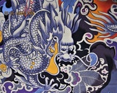 "DRAGON FABRIC ""tatsu"" (dragon) Alexander Henry Very Rare - 1 yard - #A35"