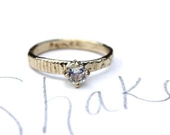 unique moonstone engagement ring . 14k gold rainbow moonstone engagement ring . simple engagement ring  by peacesofindigo  size 5.5
